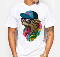 Wholesale crazy designs - New Arrival Men's Fashion Crazy DJ Cat Design T shirt Cool Tops Short Sleeve Hipster Tees Free Shipping