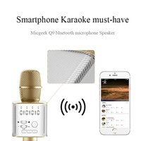 Q9 Bluetooth Microphone Handheld Wireless KTV Karaoke Player Dual Horns Altoparlante Altoparlante per iPhone X Samsung Edge S7