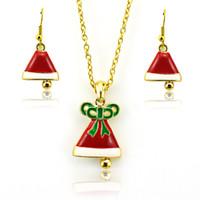 encantos del sombrero del esmalte al por mayor-Navidad nueva joyería de moda establece chapado en oro rojo esmalte sombrero de la Navidad para las mujeres encantos pendientes collar conjuntos