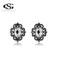 Wholesale Ancient Gun - 015 ANGELADY Gift New Fashion Restoring ancient ways Gun black Plated crystal flowers Stud Earrings Party Wedding classic