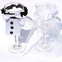 Wholesale Engagement Table - 12sets lot Wedding Cup Set Wineglass Cover Bridegroom Bowtie Bridal Veils Cup Dress Sets Engagement Ceremony Supplies wds101