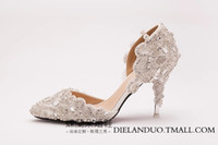 Wholesale Sparkle Beaded Bridal Shoes - 2015 Bling Wedding Shoes Sparkling Rhinestones Bridal Shoes Handmade Summer Shoes for Ladies Awesome Evening Party Shoes White Bridal Shoes