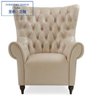 Wholesale Feibo neo classical post modern living room furniture custom wood armchair leather sofa lounge chair