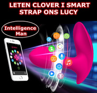 Wholesale Strap Ons Vibrator - Leten CLOVER Lucy Smart APP Control Multi-function 10 Modes Silicone Dildos Waterproof Strap ons Vibrators Sex Toys For Woman