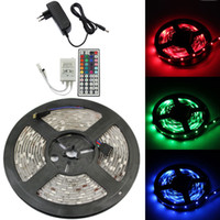 Wholesale cheap waterproof led lights - Cheap 5050 SMD RGB 300 LED Strip Light Flexible 5M 60led m Waterproof IP65 led strips with 44 key IR Remote Control +12V 5A power supply