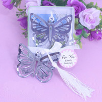 Wholesale Baby Bookmark Favors - Wholesale- 50PCS Butterfly Bookmark personalized wedding favors and gifts party supplies boy girl and baby shower souvenir wedding favors