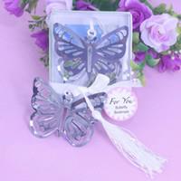 ingrosso farfalle baby shower-Wholesale- 50PCS Farfalla segnalibro bomboniere personalizzate e articoli per feste rifornimenti della ragazza bimba e baby shower souvenir bomboniere