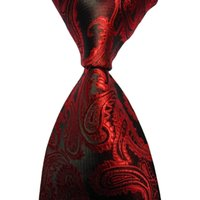 Wholesale Men S Silk Ties Polka - 10pcs neckwear 6CM Skinny Tie Red Paisley JACQUARD WOVEN Necktie men marriage wedding gravata slim ties brand new 2016 collar silk ties