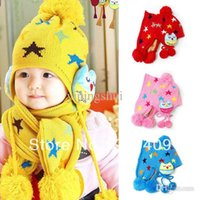Wholesale-Baby Beanie Crochet Child Ear flap Kids Hat Scarf + Cap 2pc Five Pointed Star Hat Gift