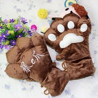 Wholesale Wholesale Personalized Gloves - 24pairs lot Personalized Velvet Claw Style Hanging Gloves Plush Bear Paw Full Finger Mittens Winter Warm Necessity GL218