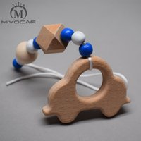 Wholesale Wooden Handmade Cars - Wholesale- MIYOCAR handmade wood clip wood car and wood beads stroller toy chain pram stroller mobile rattle wooden bead crochet baby gym