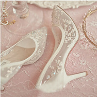 Wholesale Lace Wedding Shoes Rhinestones - Beautiful High Heel Wedding Shoes Lace Rhinestone Spring Bridal Dress Shoes Sexy Hollow Transparent Pointed Toe Prom Formal Dress Shoes