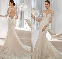Wholesale Demetrios Mermaid Wedding Dresses - Exquisite Long Sleeve Mermaid Wedding Dresses 2015 Lace Applique Sequined Covered Button Bridal Gowns Demetrios Bride Dress 2016
