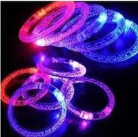 Wholesale Led Fluorescence Bracelet - 100pcs LED Flash Blink Blinking Color Changing Light Lamp Party Fluorescence Club Stage Bracelet Bangle 20151220