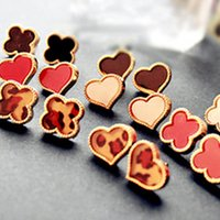 Wholesale Heart Peach Earring - Hot Sale!!! Girls Fashion Style Peach Heart and Four Leaf Clover Patterns Jewelry Earrings Jewelries heart earring 170270
