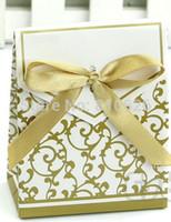 ingrosso regali di anniversario liberano il trasporto-I sacchetti di carta del regalo del nastro dell'oro di trasporto 50pcs liberi di anniversario di anniversario di cerimonia nuziale del partito favoriscono le scatole di regalo di favore