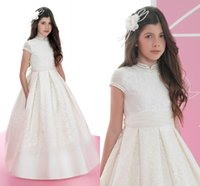 Wholesale Beautiful Bohemian Gown - 2016 Full Lace Vintage Flower Girls Dresses For Wedding Bohemian Ball Gown Satin Communion Gowns Beautiful Pageant Dresses