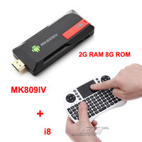 Wholesale Android A9 Tv Box - [Free Rii i8 air mouse touchpad ]MK809IV RK3188 Android TV Box Quad Core Mini PC Cortex-A9 1.8Ghz Bluetooth 2GB RAM 8GB MK809 IV