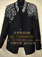 Wholesale Dark Green Coat Men - Wholesale Hot Sales Acting Long Coat+Pants+Jackets Customize Ceremony Black Men Suit Set Host Shoulder Bling wedding suits groom