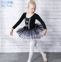 Wholesale Long Sleeve Child Ballet Dress - Girls balck swan dance dress kids lace Bows applique long sleeve ballet dance dress children falbala tulle tutu pageant Dancewear R0929