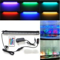 ingrosso 12v tenda di luce-6W 18 Led 46cm RGB Aquarium Light Bar Fish Tank Tenda d'aria Bubble Light Subacquea Sommergibile Acquario Lampada LED con Telecomando 16/31/54 / 61cm