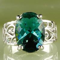 anéis de 16mm venda por atacado-184AR27-9 12 * 16 mm 16CT Oval corte verde Topaz pedras preciosas 18 K platina tamanho do anel 9