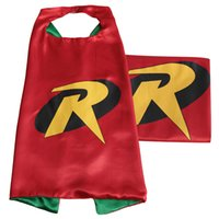 Wholesale Satin Capes Wholesale - Superhero Kids Capes Double layers 70*70 cm Satin Cape Christmas Halloween Costumes Cosplay Clothing Free Shipping