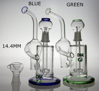 Wholesale New Pipe Vapor - New recycler glass bong water pipe glass vapor rig with dome and nail green and blue color 14.4mm joint