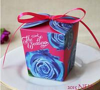 neuer stil blauer laser großhandel-100 stücke Neue stil blaue blume Hochzeit Karton Süßigkeiten Boxen band bowknot Laser Cut Süßigkeiten Geschenk-boxen Hochzeitsfestbevorzugungskästen TH119
