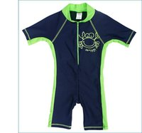 Wholesale Crab Baby Clothes - Boys Siamese sunscreen clothing Children's small crabs swimsuit baby Swimwear Swim trunks