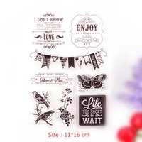 Wholesale Thank Stamps - Wholesale-DECORA 1PCS Birthday Thank you Design Silicone Transparent Clear Stamp DIY Scrapbooking Christmas Decoration Supplies