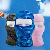Wholesale army full face mask - New camouflage windproof hood CS mask outdoor sports cap bicycle riding fishing motorcycle ski hat Balaclavas Christmas mask full face mask