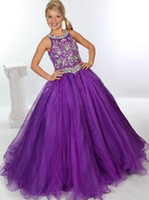 Nuovo stupore Jeweled Corpetto unici Fashion Girls Pageant Gown Halter sfera del Organza viola Little Girls Pageant Dresses 2015