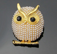Wholesale Wholesale Shoes Jewerly - OWL Pearls Brooch Pin Jewerly Rhinestones Cloth Shoes Bag DIY flowers Accessories H021