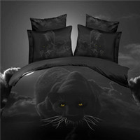 Wholesale 3d 4pc Duvet - Wholesale-Home textile black 3D bedding set 4pc animal bed cotton set wolf duvet cover set bed sheet horse lion tiger queen king bed linen