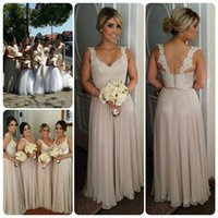 Wholesale Cheap Winter Outfits - 2016 Nude Cheap Bridesmaid Dresses For Wedding Prom Dresses Summer A Line Pleats Floor Length Formal Dresses Online Outfits
