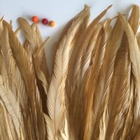 Wholesale Rooster Craft - Free shipping 500pcs lot 12-14inch(30-35cm) Gold Rooster feather coque tail feather loose for Costumes decor crafts decor