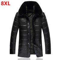 Wholesale Large Leather Hat - Wholesale- Winter large size fur collar leather down jacket dad wear PU jacket middle-aged men's cotton thin loose large yards
