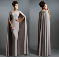 Wholesale Silk Zipper Dressing Gown - 2018 Long Mermaid Prom Dresses With Cape Illusion Neck Lace Mother of the Bride Long Formal Evening Party Gowns