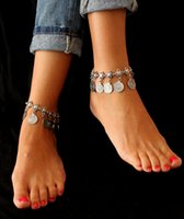 Wholesale Ethnic Anklets - 2pcs set Gypsy Antique Silver Turkish Coin Anklet Ankle Bracelet Beach Foot Jewelry Ethnic Tribal Festival
