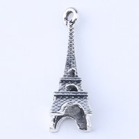 Wholesale Wholesale Paris Charms - 2016 DIY Antique Silver   Copper Alloy Paris Iron Tower Charm Pendant Fit Bracelets Necklace Metal Jewelry Making 500pcs lot 1415c