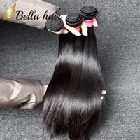 bella insan saçı düz toptan satış-Brezilyalı Saç Uzantıları Virgin İnsan Saç Örgüleri Doğal Renk Bella Saç İpeksi Düz 9A 8
