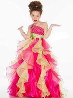 fuchsia цветок девушки платье органза оптовых-Прекрасный синий фуксия органза бисер девушки цветка платья девочек конкурс платья день рождения праздники платья пользовательский размер 2-14 FF726054