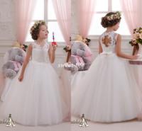 Wholesale Cheap Wedding Dresses Keyhole - Cute Lace White Wedding Flower Girl Dresses Floor Length 2015 Keyhole Back Sheer Crew Neckline Tutu Bow Cheap Girls Pageant Birthday Dresses