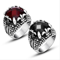 Wholesale Big Stainless Casts - Cast Big Black Red CZ Fleur de Lis Square Mens Ring 316L Stainless Steel Ruby Jewelry Stylish Accessory Size 7 to 12 R530