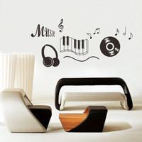 ingrosso adesivi da parete smontabili da ballo-Musica Sticker cuffie Tema Musica Arredamento camera da letto Danza Musica Nota Adesivo rimovibile Adesivo De Parede Arredamento