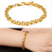 bracelete de 18k gf venda por atacado-Atacado cadeia de freio pulseira de mulheres de ouro amarelo 18k 4mm largura GF Jóias link