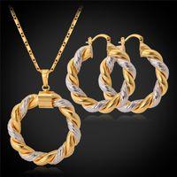 brincos de ouro venda por atacado-U7 Dois Tons Design Colar Brincos Platinum / 18 K Real Banhado A Ouro Na Moda Rodada Colar de Pingente de Brincos Mulheres Jóias Set Presente Perfeito