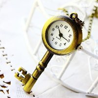 Wholesale Brown Bronze Necklace - wholesale buyer price good quality fashion retro bronze classical vintage key pocket watch necklace pendant with chain Key Ring Wristwatch