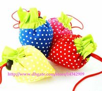 Wholesale Nylon Folding Tote - 200pcs lot # Portable Cute Strawberry Bags Eco Reusable Shopping Bag Tote Folding Foldable Bag Free Shipping